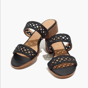 NWT Madewell Marianna black woven leather sandal 9